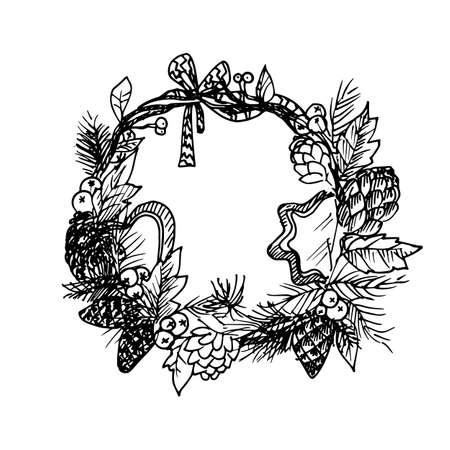 Black Mono Color Illustration for Merry Christmas and Happy New Year Print Design, Wreath with New Year Elements.