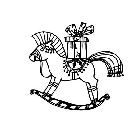 Black Mono Color Illustration for Merry Christmas and Happy New Year Print Design. Rocking Horse with Gift. Coloring Book Page Design for Adults or Kids