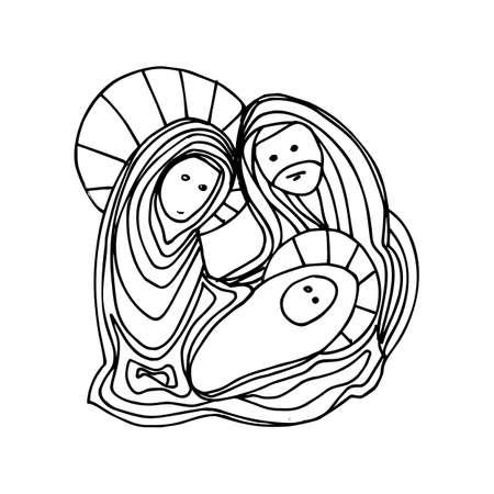 Illustrazione di colore in bianco e nero per Buon Natale e felice anno nuovo design di stampa, che può essere utilizzato per le icone di Natale e disegno pagina di colorare per adulti o bambini. Archivio Fotografico - 91873935