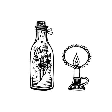 Black Mono Color Illustration for Merry Christmas and Happy New Year Print Design. Glass Jar with Candle. Coloring Book Page Design for Adults or Kids