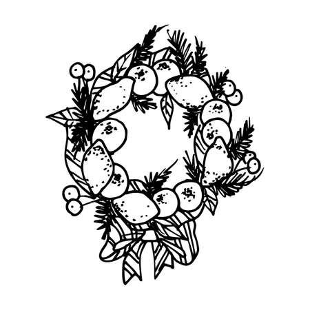 Black Mono Color Illustration for Merry Christmas and Happy New Year Print Design. Wreath with New Year Elements on White