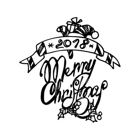 Black Mono Color Illustration for Merry Christmas and Happy New Year Print Design, Hand Drawn Banner for Coloring Book Page Design for Adults or Kids.