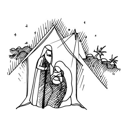 Zwarte monokleurenillustratie voor prettige kerstdagen en gelukkig Nieuwjaar printontwerp. Kerstmis kerststal religieuze abstracte artistieke Bethlehem wieg scène op witte achtergrond