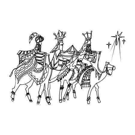 Black Mono Color Illustration for Merry Christmas and Happy New Year Print Design. Of Three wise men following the star of Bethlehem. Vectores