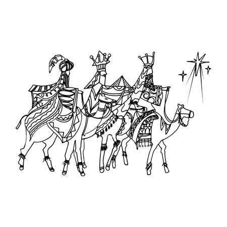 Zwarte monokleurenillustratie voor prettige kerstdagen en gelukkig Nieuwjaar printontwerp. Van drie wijze mannen die de ster van Bethlehem volgen. Vector Illustratie