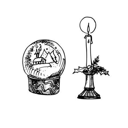 Christmas Crystal Snow Globe With House for Coloring book for children in Hand Drawn Cartoon Illustration. Illustration