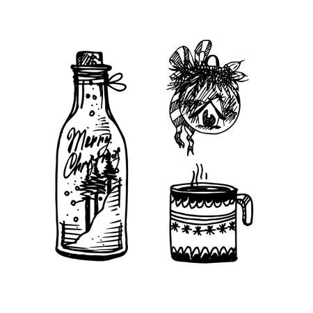 Black Mono Color Illustration for Merry Christmas and Happy New Year Print Design, Glass Jar, Hot Tea and Christmas Ball, Coloring Book Page Design for Adults or Kids. Illustration