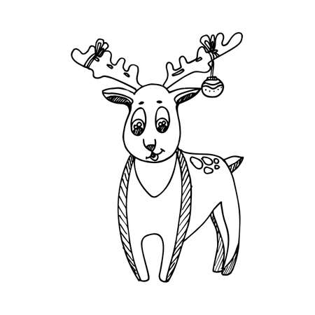 Black Mono Color Illustration for Merry Christmas and Happy New Year Print Design, Reindeer Character for Coloring Book Page Design for Adults or Kids.