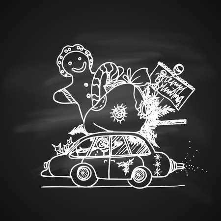 Kreide-Zeichnungs-Illustration für künstlerische Weihnachtsgekritzel-Ikone. Retro Auto mit Geschenken. Neujahr Vintage Design für Weihnachtskarte oder Einladung