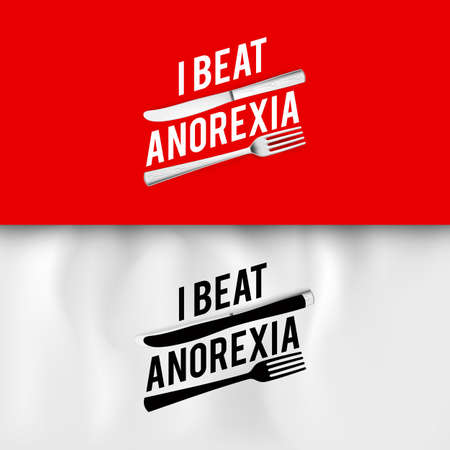 I Beat Anorexia: Ironic Slogan with Fork and Knife on White and Red Background. Ilustração
