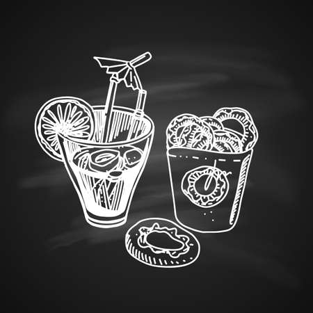 Cold Cocktail with Lime and Pack of Donuts. Isolated on Blackboard