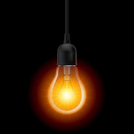 Glowing light bulb in Lamp Socket Hanging on Wire on Dark Background Иллюстрация