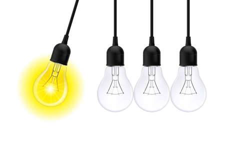 Innovation Idea Concepts Glowing Light Bulb. Light Bulbs in Row with Single one in Motion and Shinning, Isolated on White Background