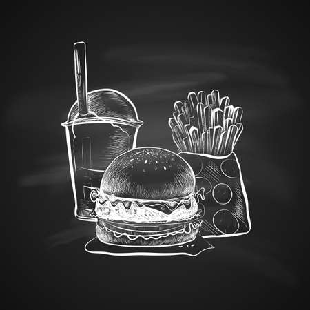 Big hamburger or cheeseburger, French fries, soda cup with straw and lid. Burger icon. Isolated on a chalkboard. Realistic doodle cartoon style. Hand drawn sketch illustration.