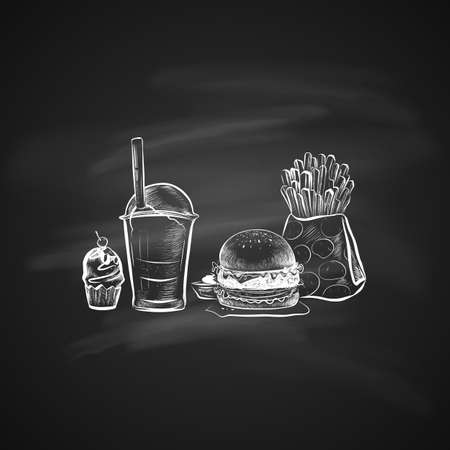 Big hamburger or cheeseburger, cake, French fries in a paper pack, soda cup with straw and lid. Isolated on a chalkboard. Realistic doodle cartoon style. Hand drawn sketch illustration.