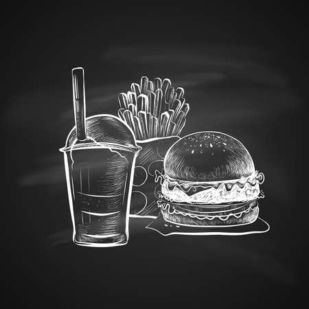 Big hamburger or cheeseburger, Soda cup with straw, lid and French fries. Isolated on a chalkboard. Realistic doodle cartoon style. Hand drawn sketch illustration. Illustration
