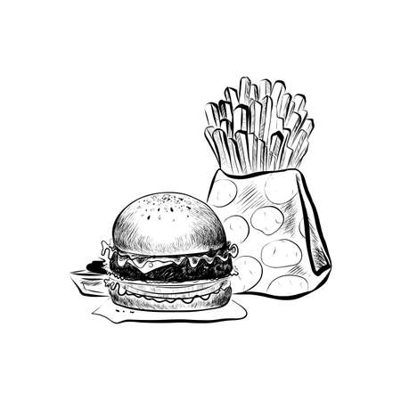 Big Hamburger or Cheeseburger, Cake and French Fries. Burger Logo. Isolated On a White Background. Realistic Doodle Cartoon Style Hand Drawn Sketch Illustration Illustration