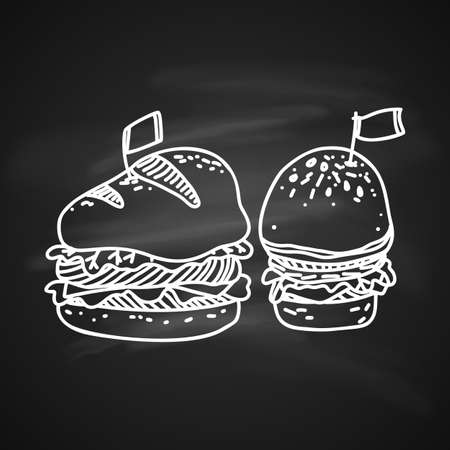 Sketch Illustration of Big Hamburger or Cheeseburger with Flag. Hand Drawn Icon on Blackboard