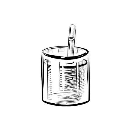 Sketch Illustration of Glass with Straw. Realistic Doodle Cartoon Style Hand Drawn Illustration