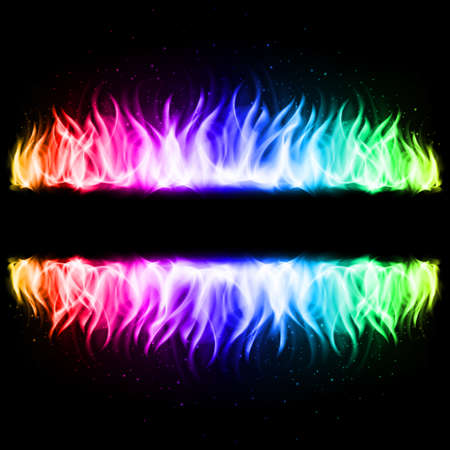 Two Walls of Abstract Rainbow Fire in Mirror Reflection with Blank Space Between Them.