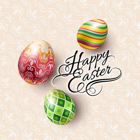 Spring Easter mock up scene with colorful eggs and pattern background, with calligraphy text, top view.