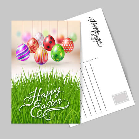 Template greeting card with eggs on a string. Lettering, calligraphy, handwriting inscription Happy Easter for the organization of festive season. Illustration