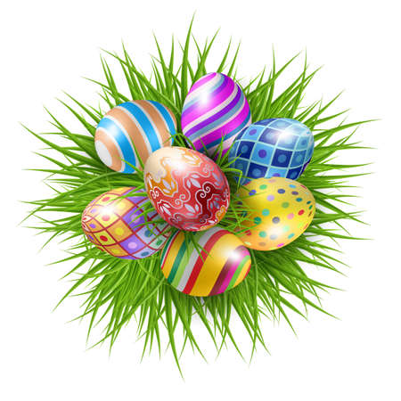 Seven Brightly Colored Easter Eggs on a Round Patch of Green Grass Over White