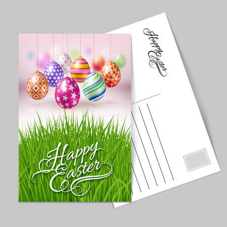 Template Greeting Card with Hanging Easter Eggs with Different Ornaments for the Organization of Festive Season Illustration