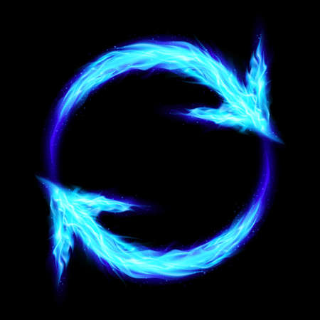 Blue Fire Circular Arrows on Black Background for Design