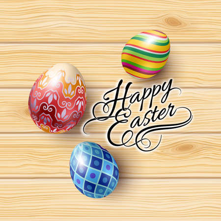 Spring Easter mock up scene with colorful eggs and wooden background, with calligraphy text, top view. Ilustração
