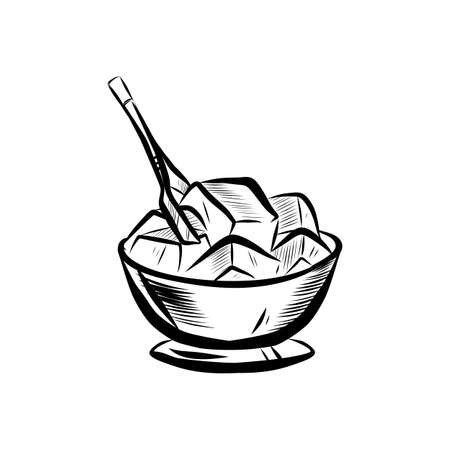 Sketch illustration of ice bowl. Realistic doodle cartoon style hand drawn illustration.