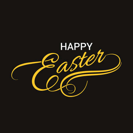 Happy Easter glitter calligraphy for greeting cards on black background. Illustration