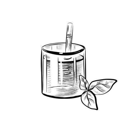 Sketch illustration of glass with straw and mint leaf. Hand drawn icon on white background. Illustration