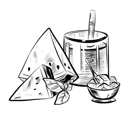 Sketch Illustration of Glass with Straw, Mint Leaf, Ice Bowl and Watermelon. Ilustração
