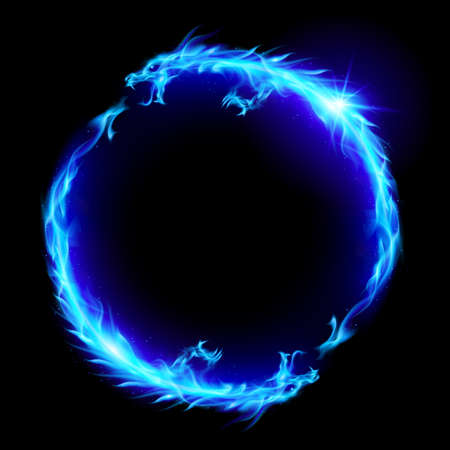 Signe de Concept Ouroboros, symbole magique alchimique de la réincarnation et de la Kundalini. Anneau de feu bleu des dragons.