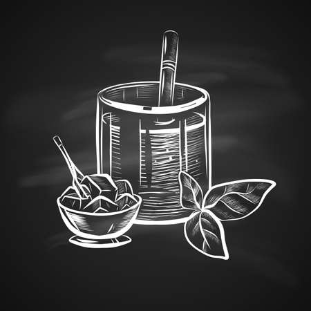 Sketch Illustration of Glass with Straw, Mint Leaf and Ice Bowl. Hand Drawn Icon on Blackboard. Realistic Doodle Cartoon Style