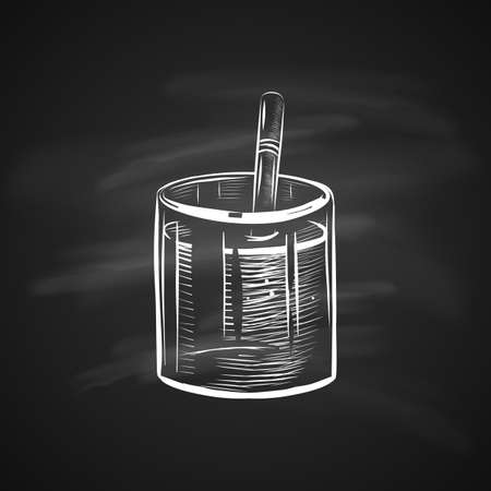 Sketch Illustration of Glass with Straw. Realistic Doodle Cartoon Style Hand Drawn Illustration on Chalkboard