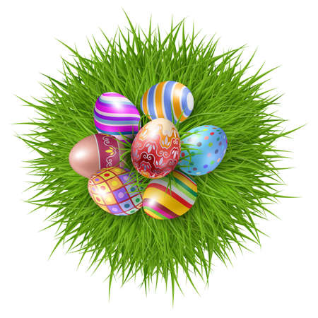 Seven Brightly Colored Easter Eggs on a Round Patch of Green Grass Over white to Celebrate the Festive Season