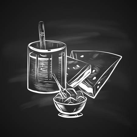 Sketch Illustration of Glass with Straw, Ice Bowl and Watermelon. Realistic Doodle Hand Drawn Illustration on Chalkboard