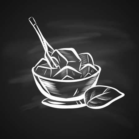 Sketch Illustration of Mint Leaf and Ice Bowl. Hand Drawn Icon on Chalkboard