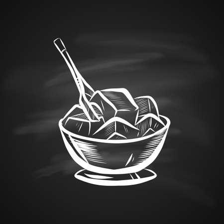Sketch Illustration of Ice Bowl. Realistic Doodle Cartoon Style Hand Drawn Illustration on Chalkboard