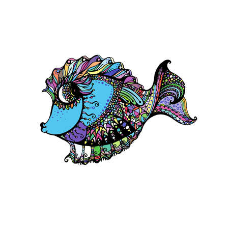 Hand Drawn stylized Color Fish