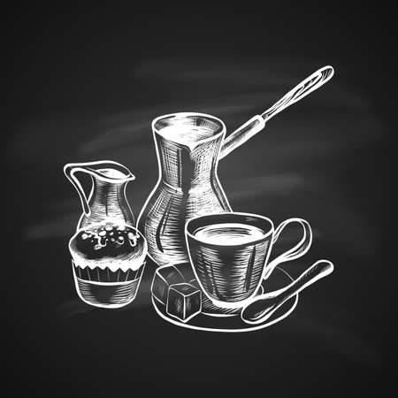 Hand Drawn Coffee Set Include Coffee Maker, Turk, Cup, Creamer and Cake on Blackboard