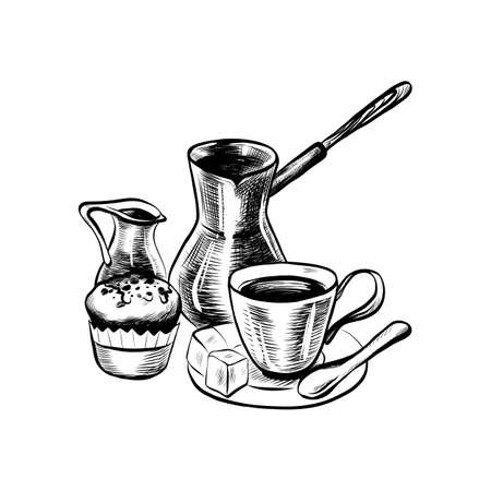 Hand Drawn Coffee Set Include Coffee Maker, Turk, Cup, Creamer and Cake