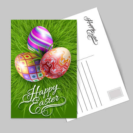 Template Greeting Card with Three Brightly Colored Easter Eggs