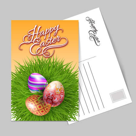 Template Greeting Card with Three Brightly Colored Easter Eggs on a Round Patch of Green Grass Over Gray Background to Celebrate the Festive Season