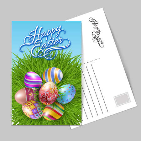 Template Greeting Card with Seven Brightly Colored Easter Eggs on a Round Patch of Green Grass Lettering, Calligraphy. Handwriting inscription Happy Easter