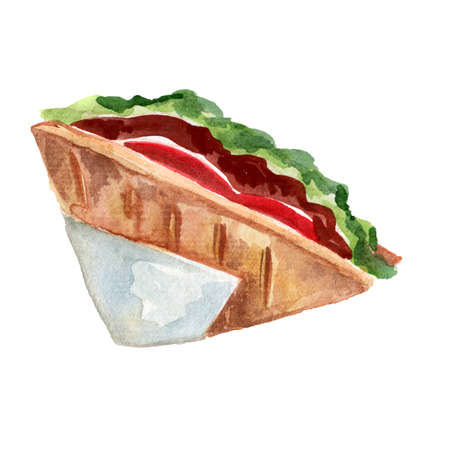 Watercolor illustration of hand-drawn Sandwich with Meat, Salad, Potatoes Wrapped in a Napkin Delicious Food Design, Isolated on White