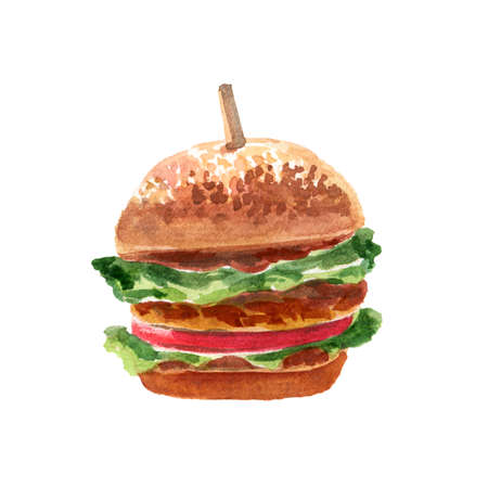 Hand Drawn Watercolor illustration of Fresh Tasty Burger with Tomatoes, Meat, Salad, Ketchup and Mustard