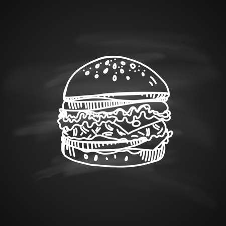 Hand drawn chalk sketch on blackboard tasty cheeseburger. Big cheeseburger with salad sesame and delicious tomato sauce. Illustration